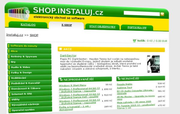 shop.instaluj.cz – Elektronický obchod se software